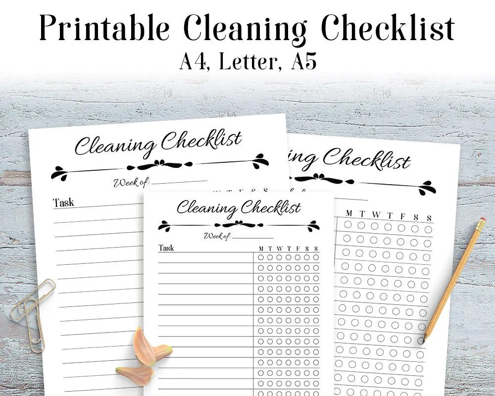Cleaning Checklist Printable Printable Daily Cleaning Etsy