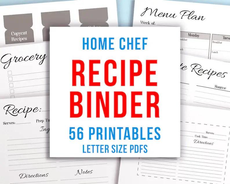 Recipe Binder Kit Printable Recipe Template Printable Recipe Etsy