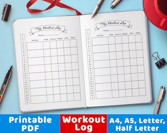 Bullet Journal Workout Log Exercise Tracker Bujo Printable Etsy - printable workout sheet