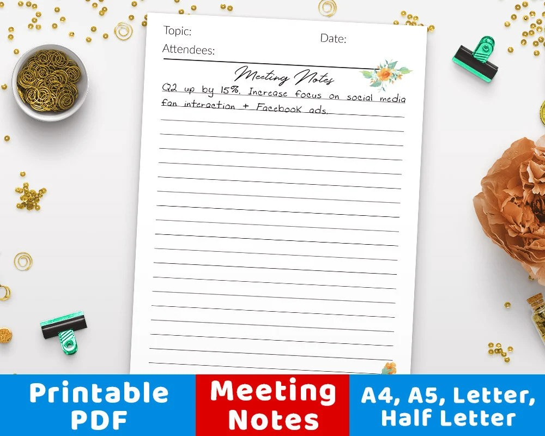 Meeting Note Template Printable Meeting Notes Printable Etsy