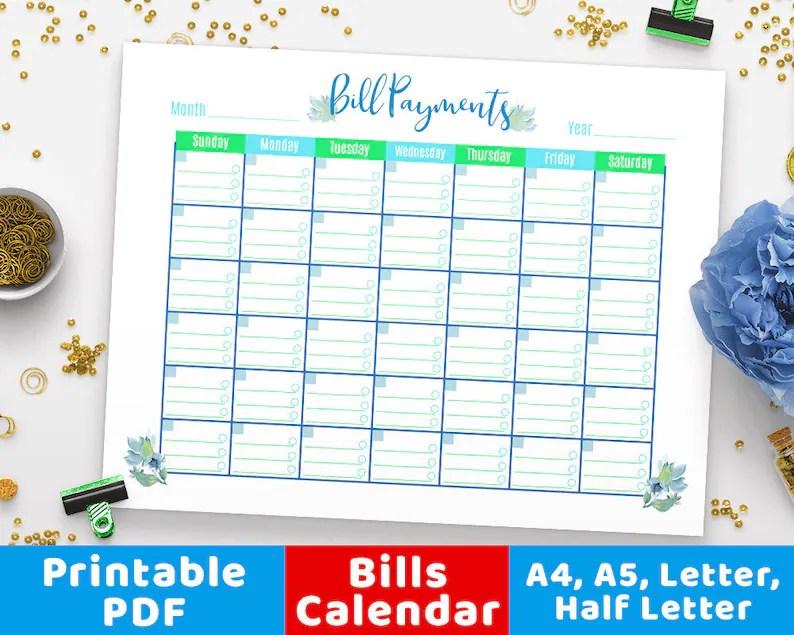 Bill Payments Calendar Floral Bills Tracker Bill Calendar Etsy
