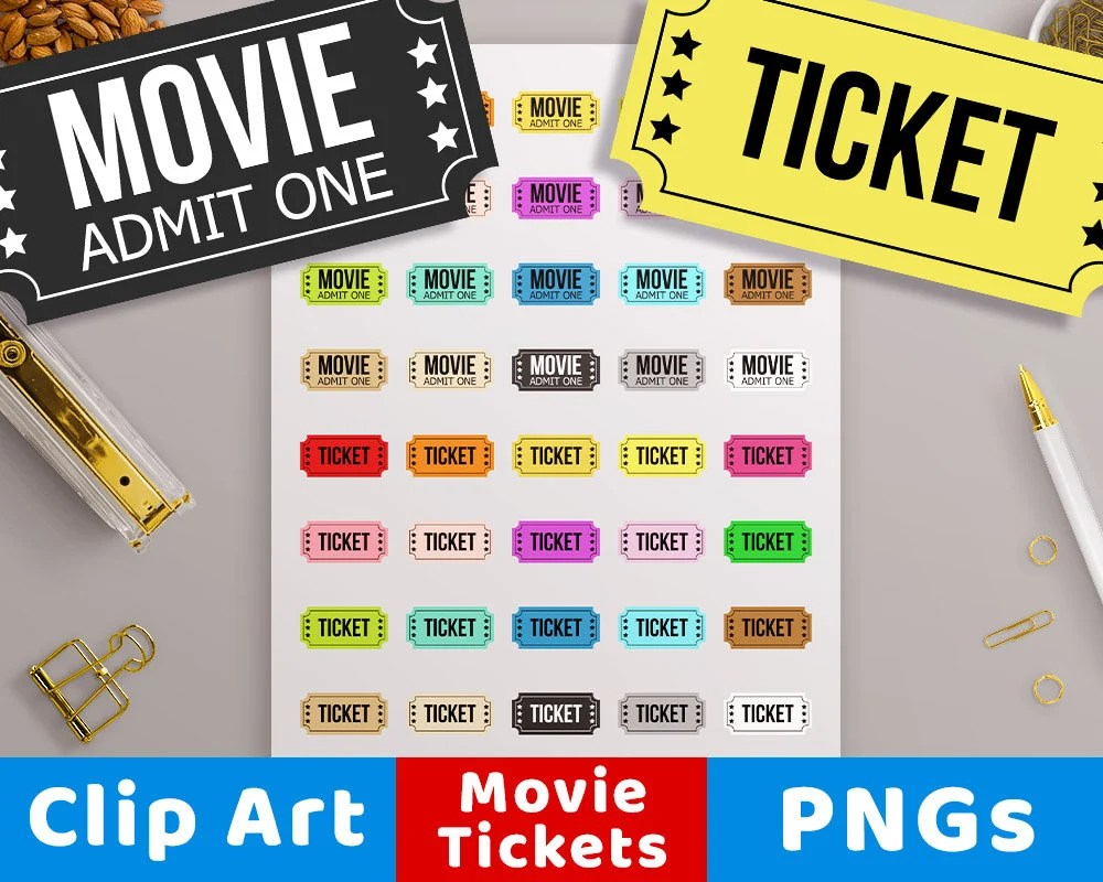 Movie Ticket Clipart Circus Ticket Carnival Ticket Theater Etsy