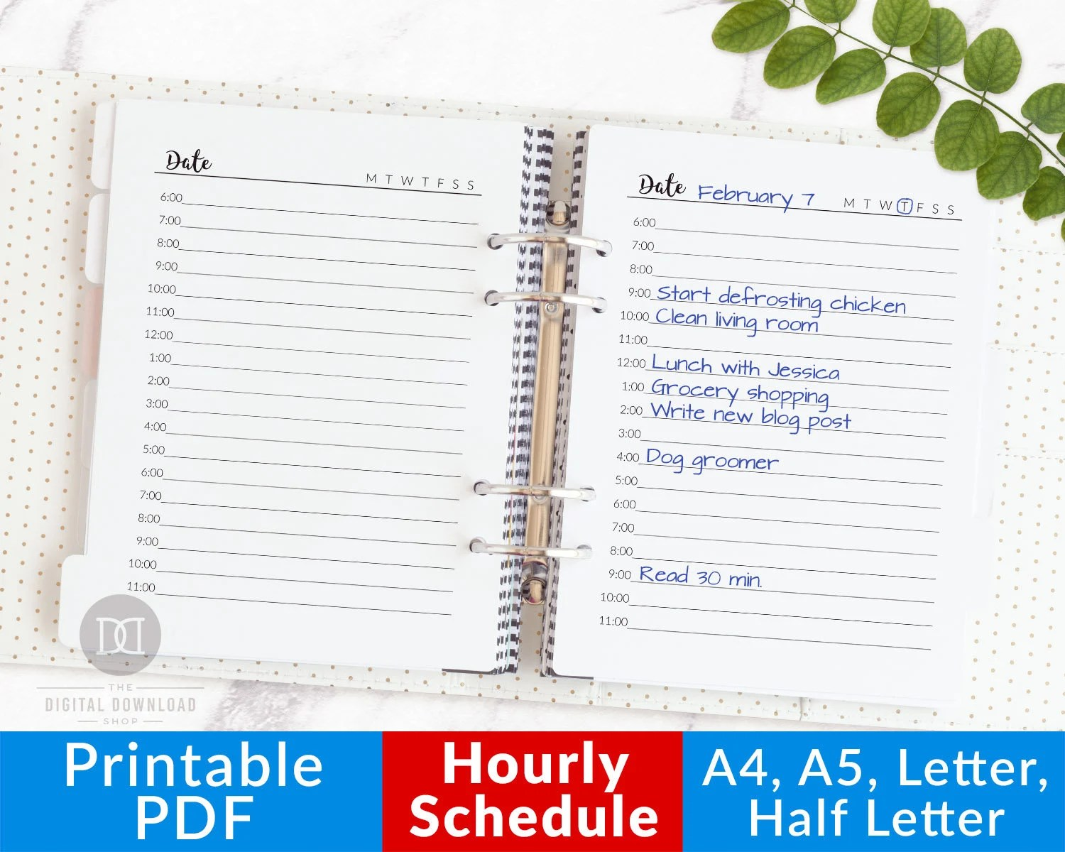 Hourly Planner Printable Daily Planner Printable Hourly Etsy