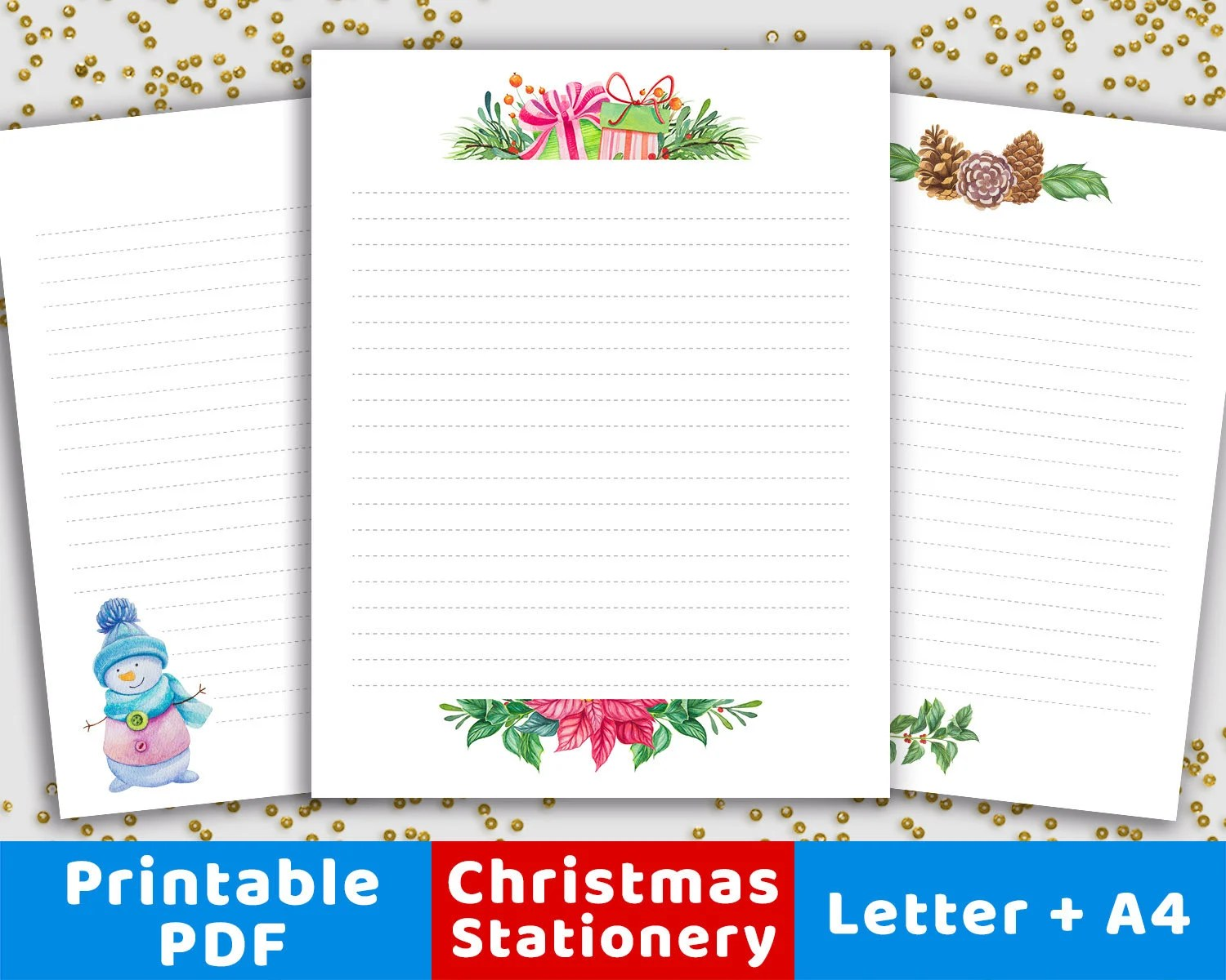 3 Christmas Stationery Printables Christmas Stationary Paper Etsy