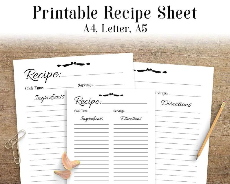 Recipe Sheet Printable Recipe Page Template Blank Recipe Etsy