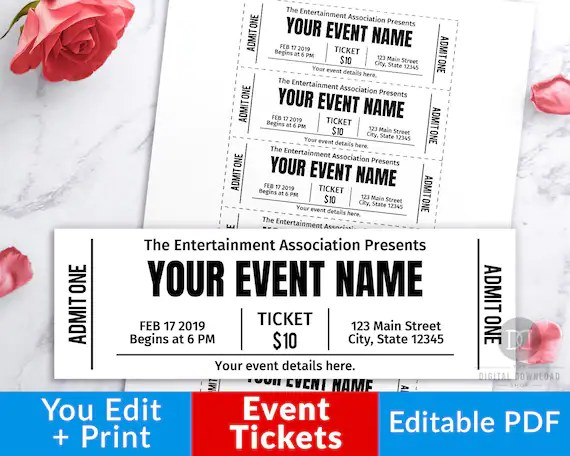 Event Ticket Printables, Editable Event Tickets, Event Ticket Template  Printable, DIY Event Ticket, Fake Editable Pass, Instant Download