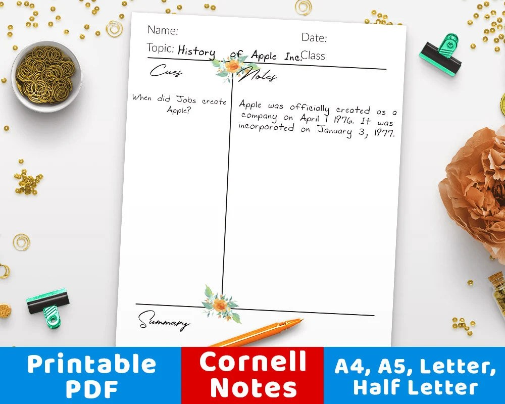 Cornell Notes Template Printable Printable Cornell Notes Etsy