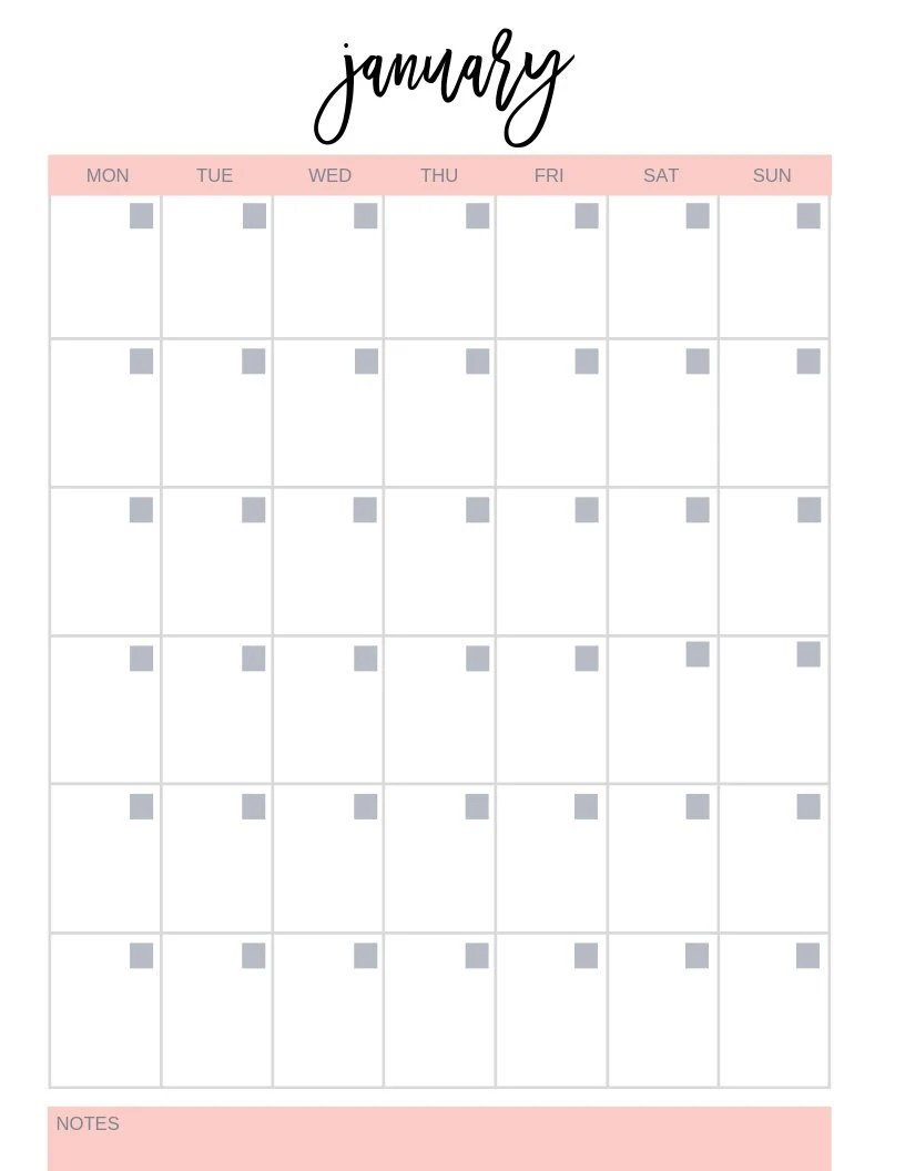Blank Printable Calendar Fill In The Dates Notes Section Etsy