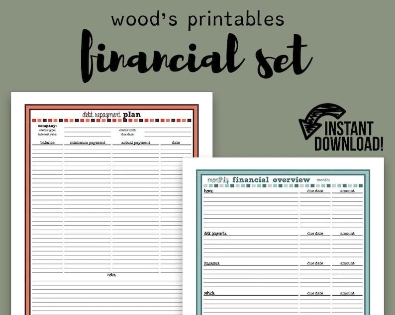 Financial Planner PDF Printable Bill Tracker Bill Planner Etsy