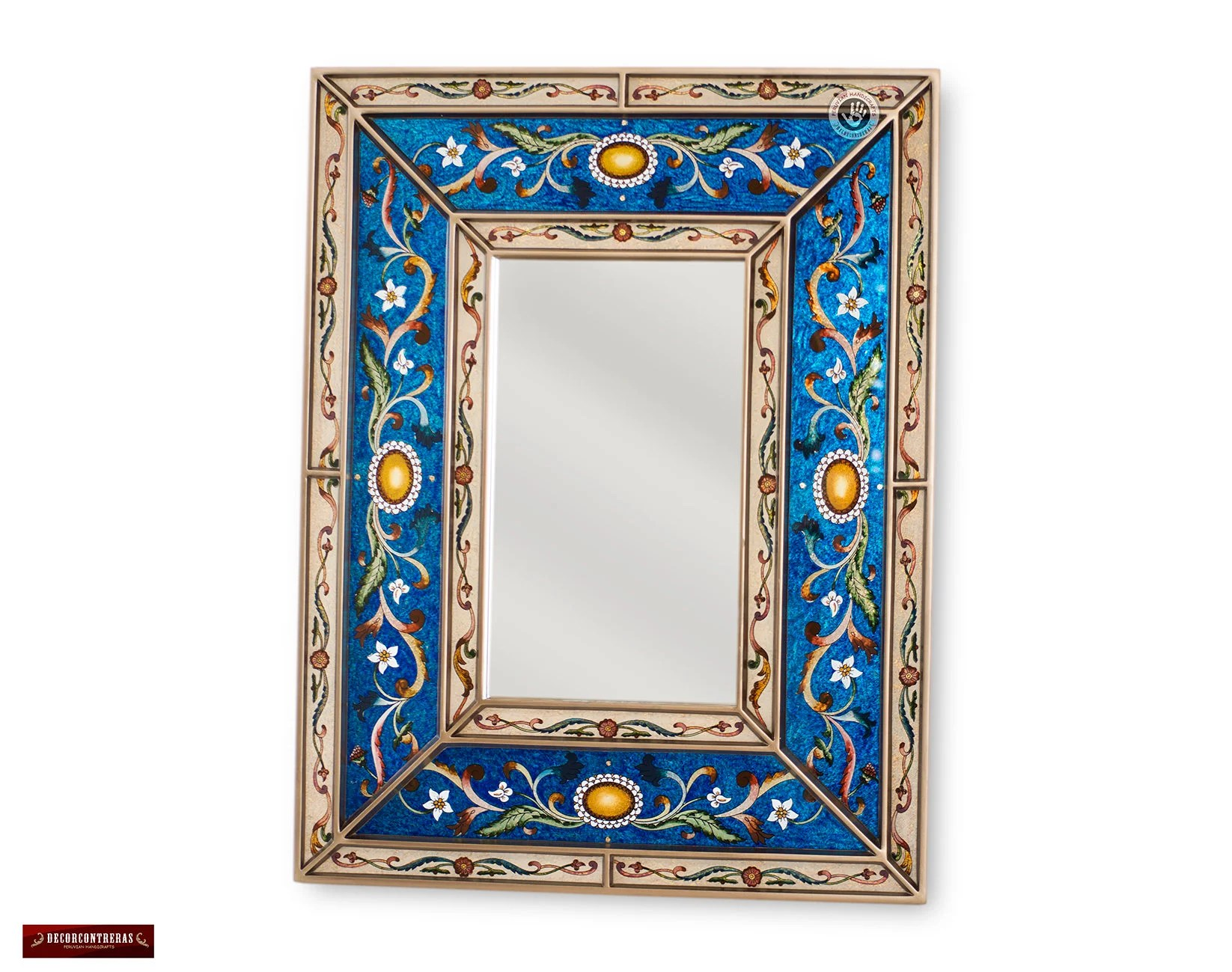 Decorative Mirror Peruvian Blue Decorative Mirror Arts Crafts Mirror Wall Vanity Mirror Hand Painted Glass Wood Rectangular Wall Mirror Wall Mirrors