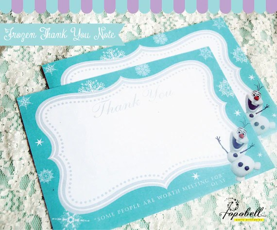 Frozen Thank You Notes for Frozen Birthday Party Instant Download