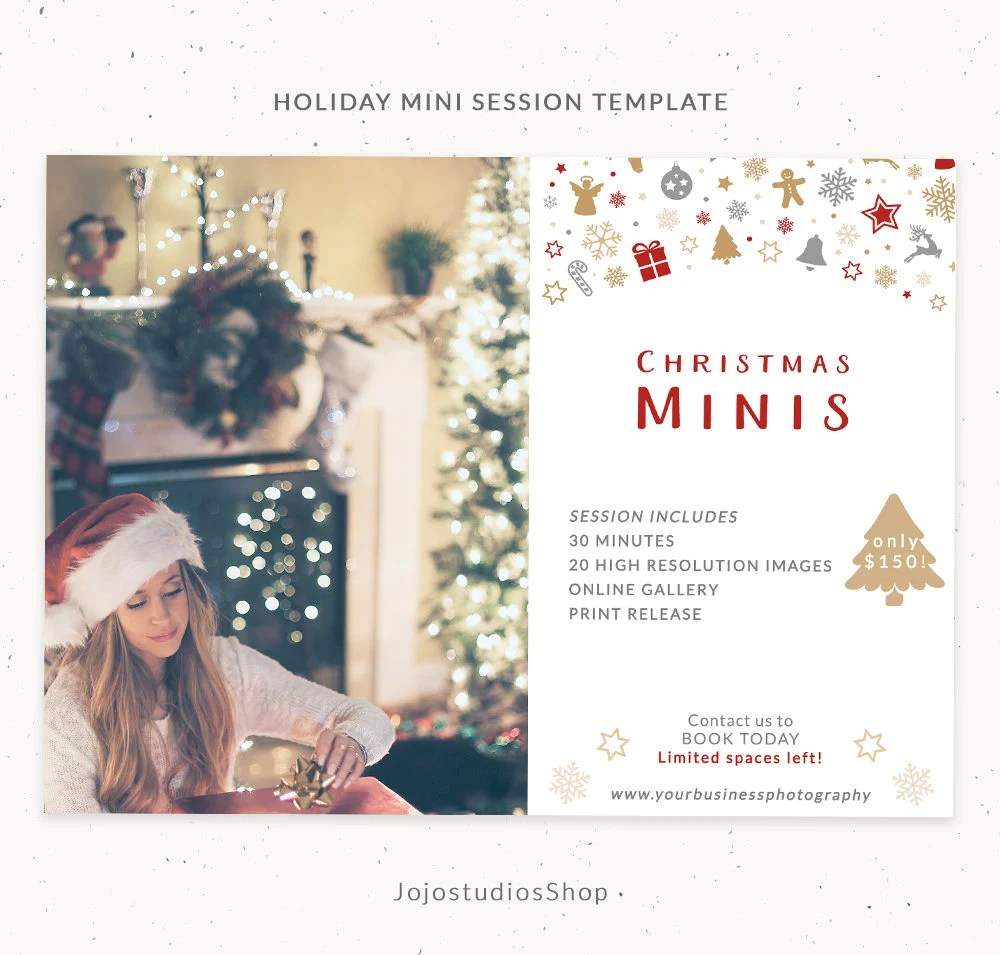 Christmas Template Photography Mini Session Holiday Etsy