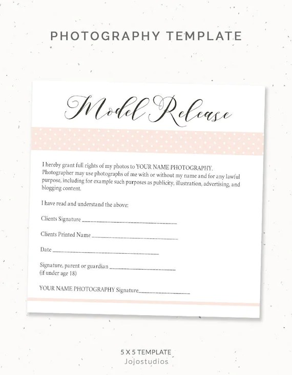 Photography Model Release Form Template Photography Template Etsy
