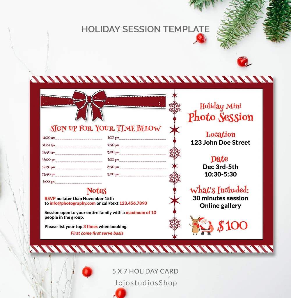 Session Timeline, Photo Mini session ad, Now booking Template