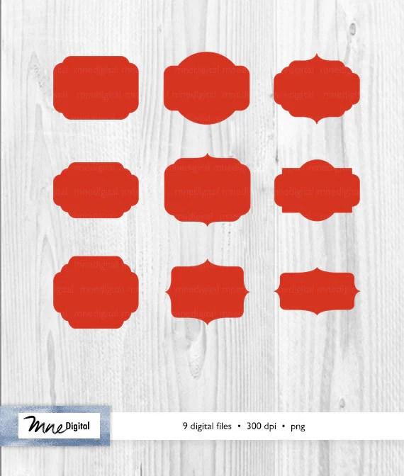 Red digital frames red digital frames printable red frames Etsy