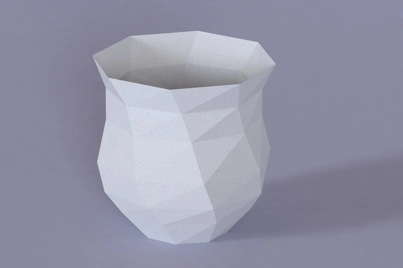 Printable DIY template PDF Vase low poly paper model st1 Etsy