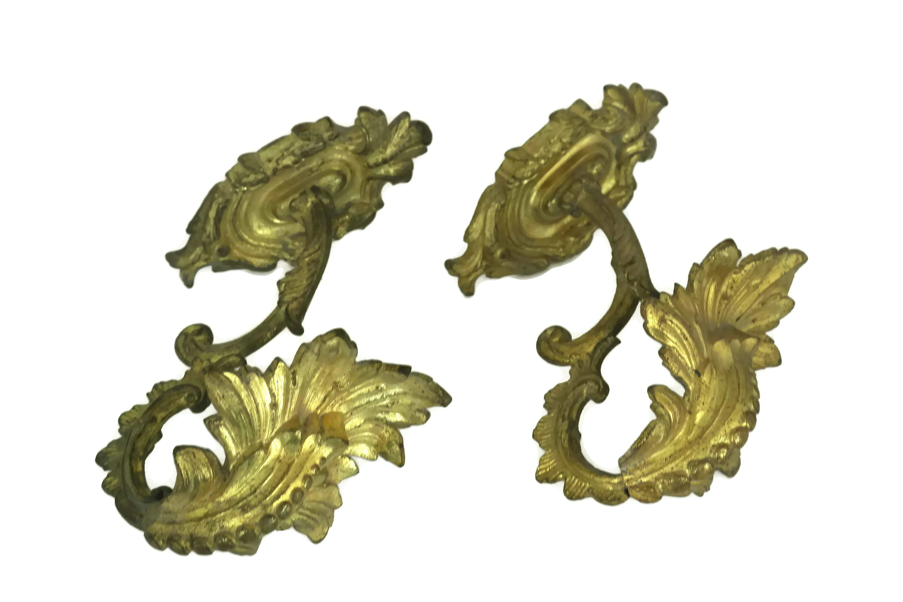 Antique Bronze Curtain Tie Backs Large Antique French Gilt Bronze Curtain Tie Backs Pair Of Rococo
