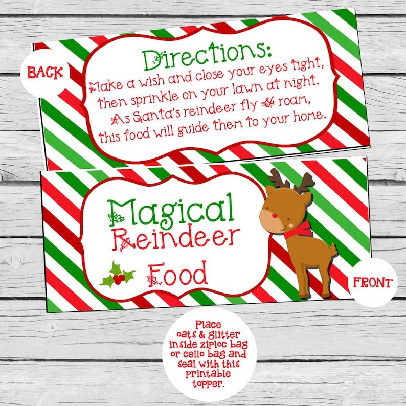 Reindeer Food DIY/PRINTABLE Treat Bag Topper Etsy