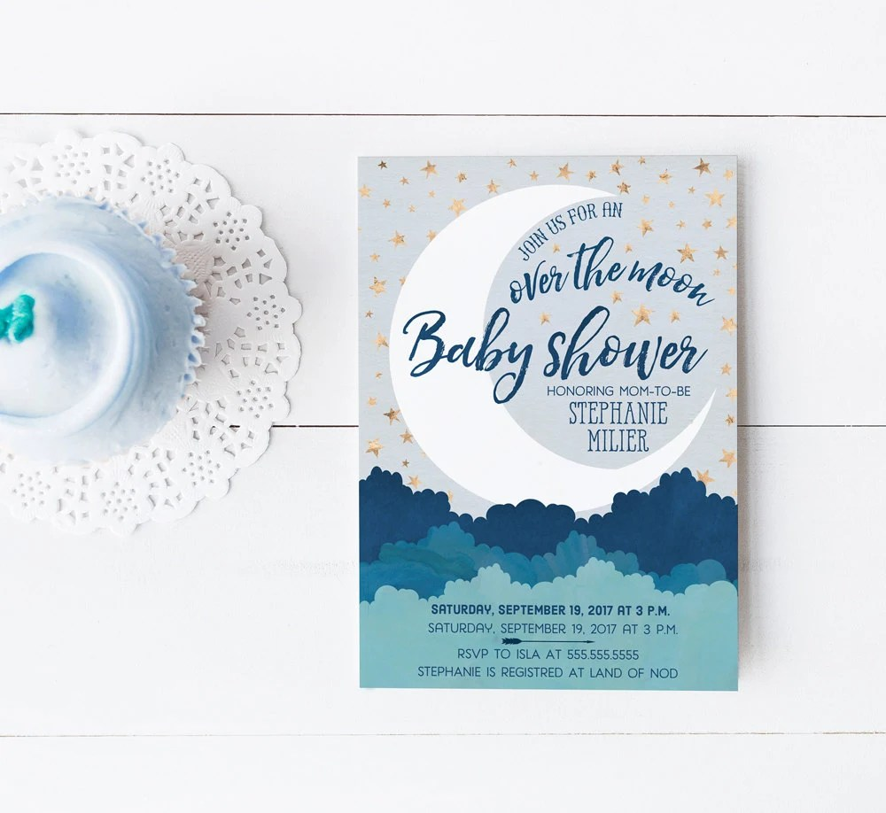 Over the Moon Baby Shower Invitations Navy Blue and Gold Boy Etsy