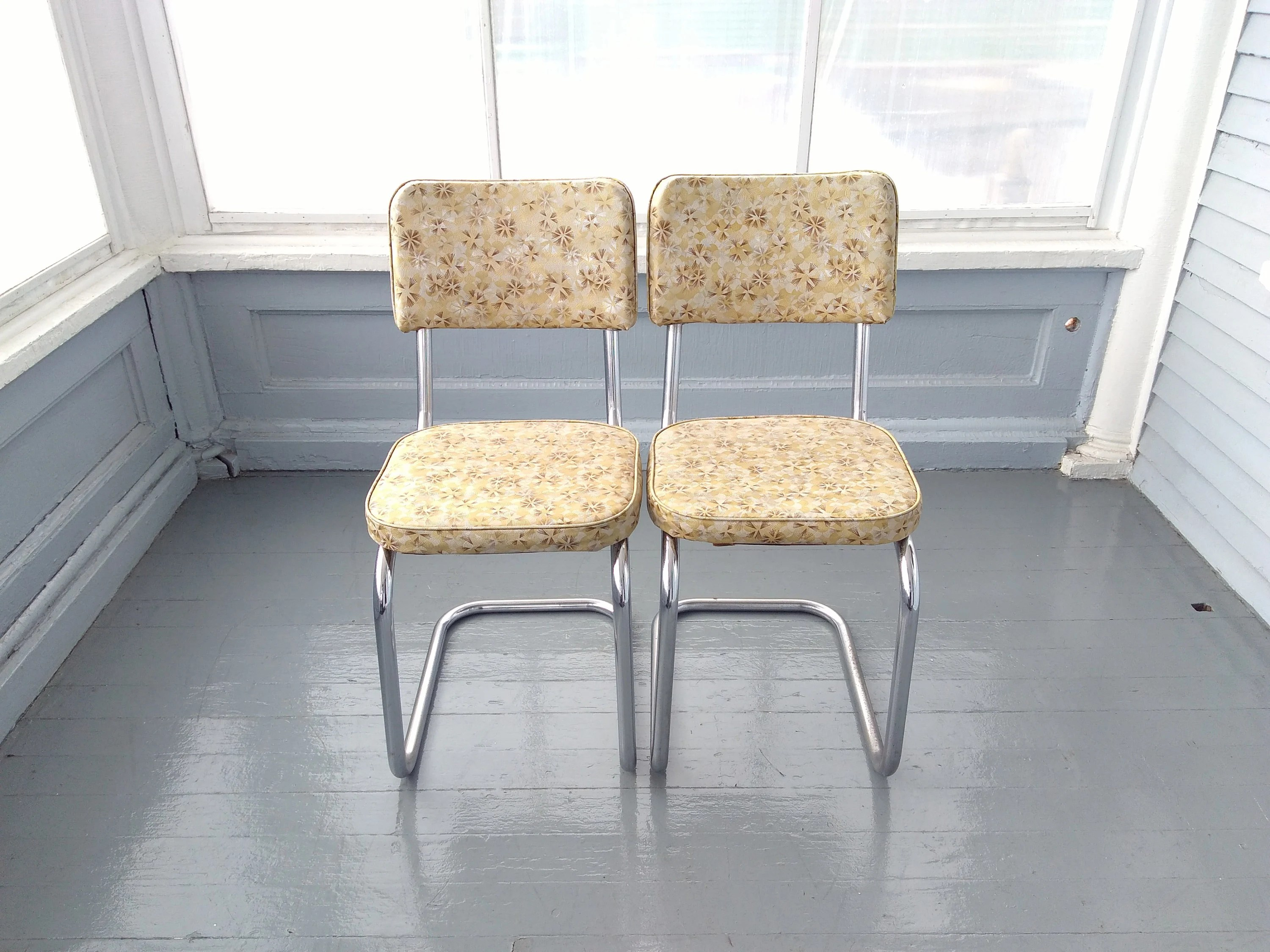 Vintage Chairs Dinette Chairs Retro 50s Metal Vinyl Chrome Kitchen Chairs Metal Chairs Vinyl Chairs Yellow Rhymeswithdaughter