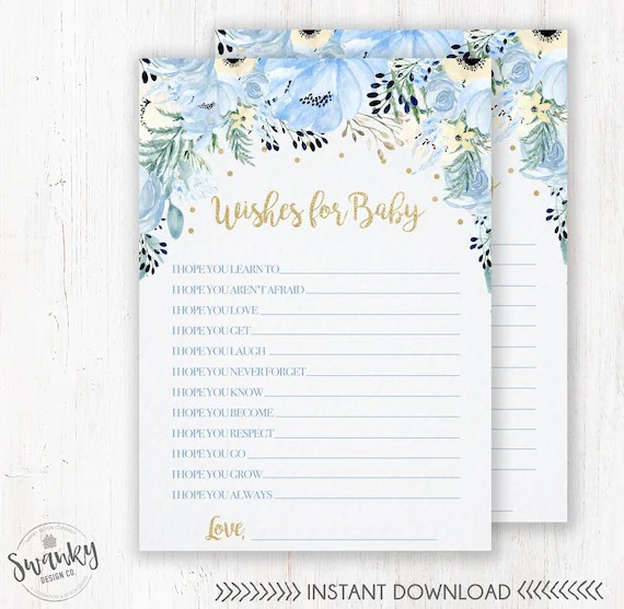 Blue Floral Wishes for Baby Printable, Floral Dear Baby Cards, Boy