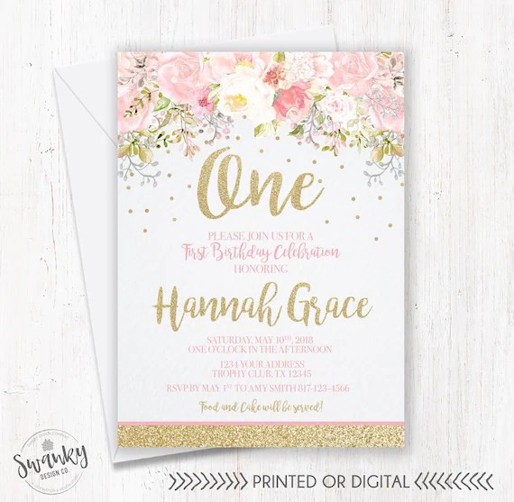 Blush Pink and Gold First Birthday Invitation Floral First Etsy