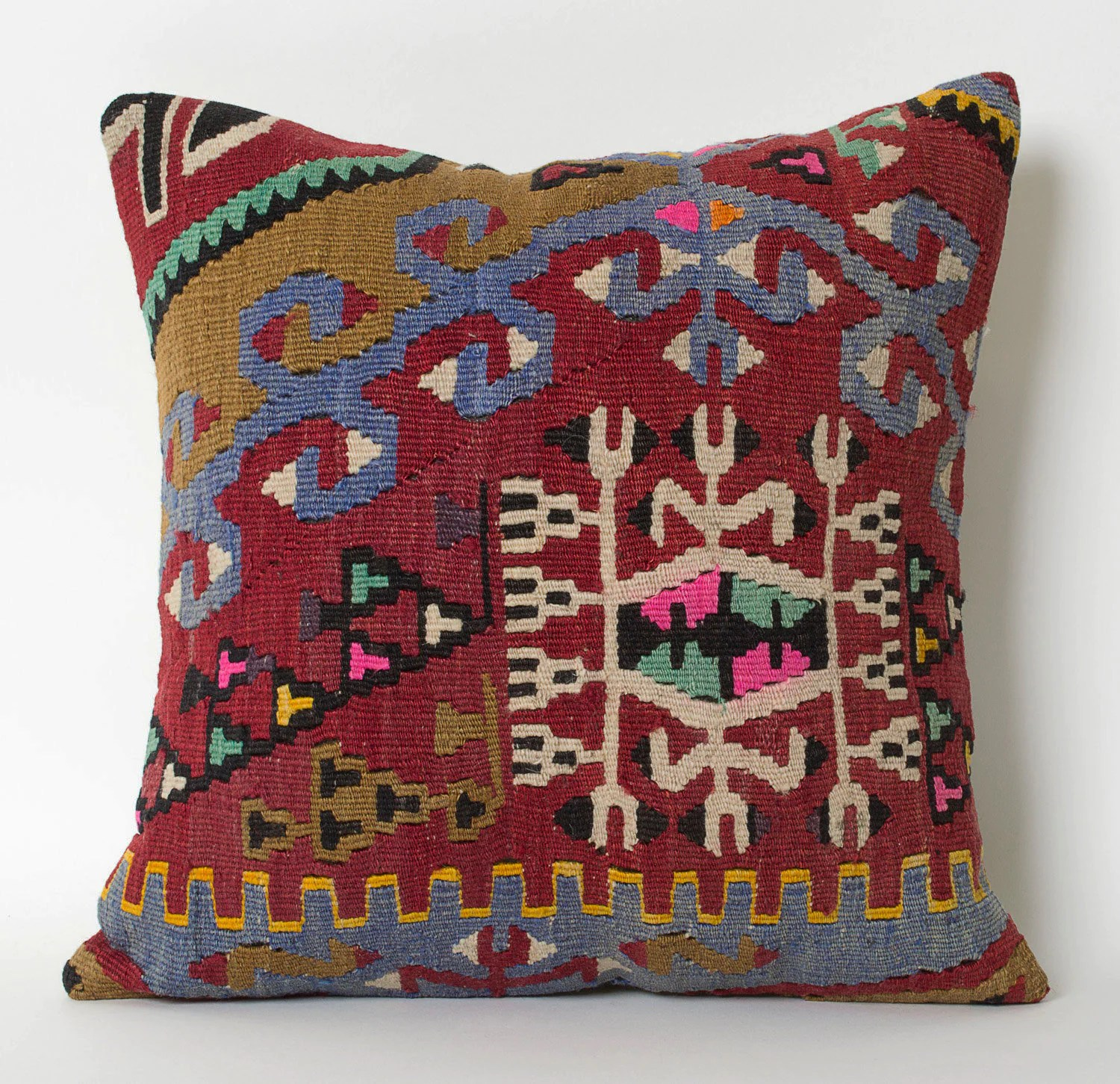 Kilim Paris Persian Rug Pillow Cushion Cover Kilim Pillow Case Boho Pillow Antique Pillow Anatolian Pillow Carpet Pillow Kilim Cushion Tribal Red Blue