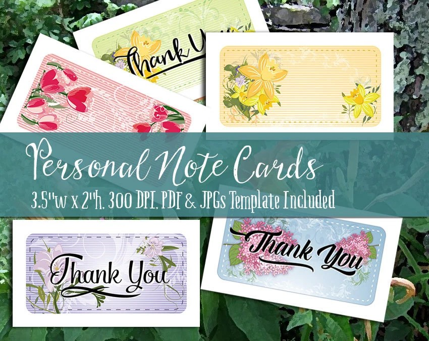 Personal Note Cards and Thank You Notes Printable PDF and Etsy