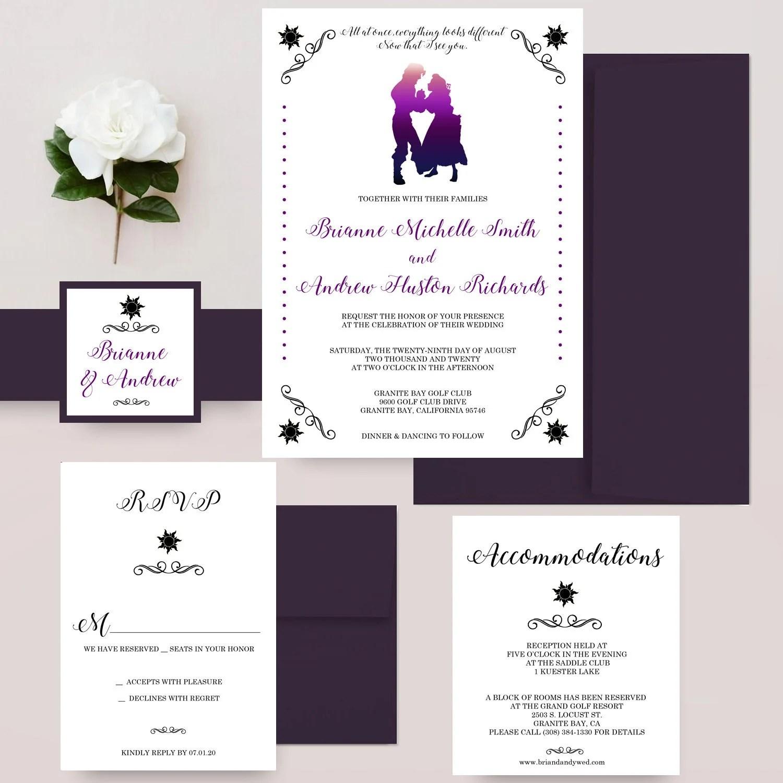 Rapunzel and Flynn Wedding Invitations Disney Wedding Etsy