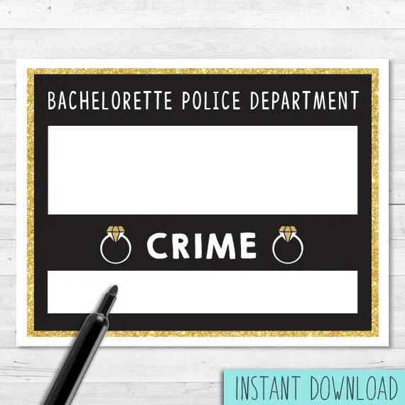 Bachelorette Mugshot Jail Sign Instant Download Etsy