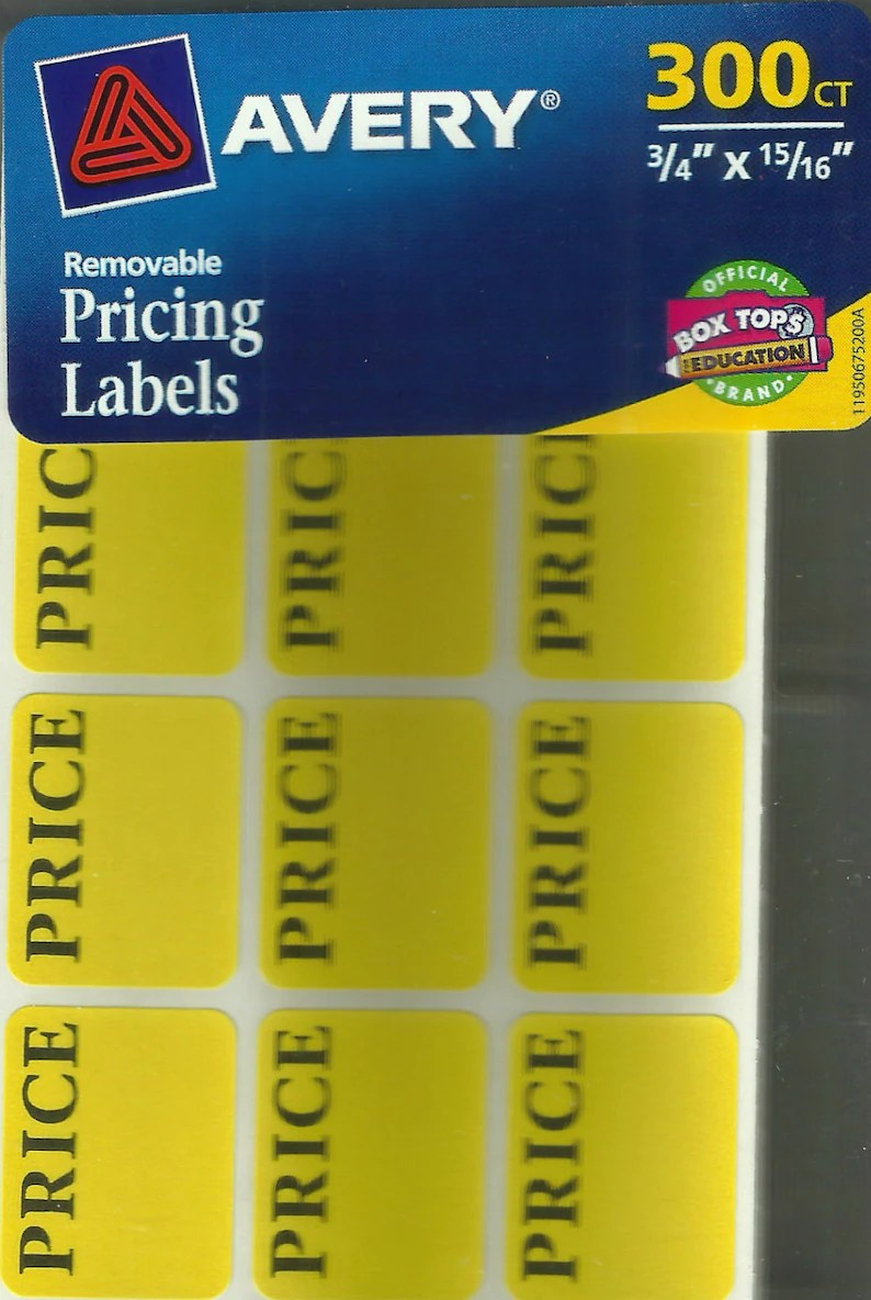 Garage Sale Price Stickers 300 Price Labels Removable Self Adhesive Pricing Yellow Color Tag Price Stickers Rectangular Sticky Paper Tags Estate Garage Sale Avery 6752