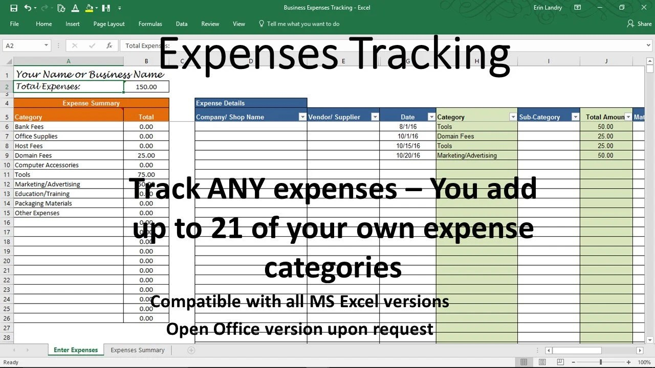 Expense Tracker Business Expense Tracking Overhead Expense Etsy
