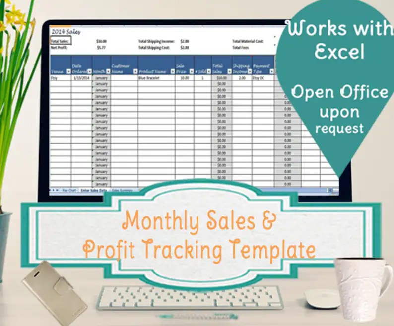Profit Tracker, Sales Tracking Template - For Multiple Venues