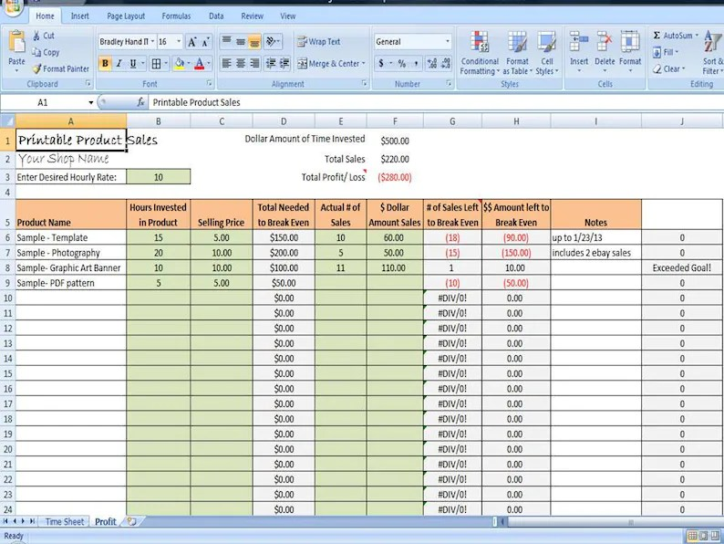 Printable  Digital Product Sales Tracker / Profit Tracking by Product