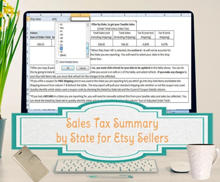 Sales Tax Summary Spreadsheet for Etsy Sellers Template Etsy
