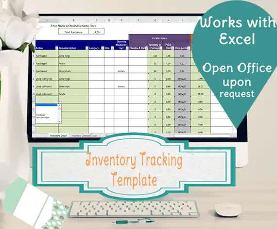 Inventory Tracking Template Calculates Running Tally of Etsy