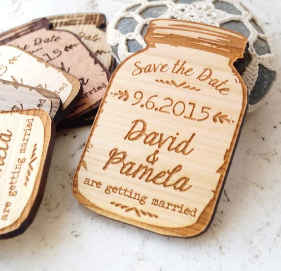 Mason jar magnets save the date magnet rustic save the date Etsy