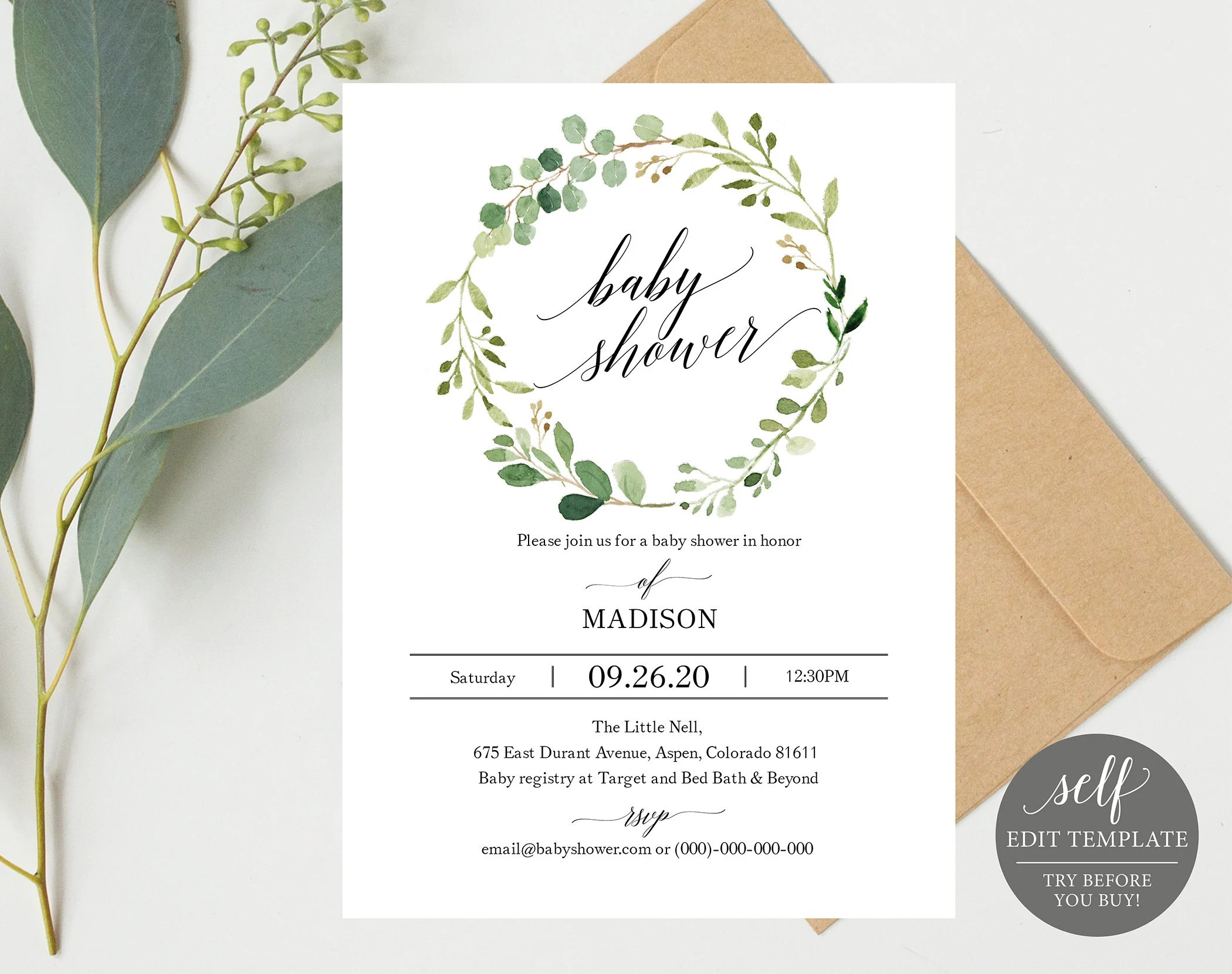 Greenery Baby Shower Invitation Template Printable Baby Etsy