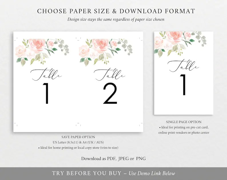 Floral Wedding Table Numbers Table Number Template Printable Etsy