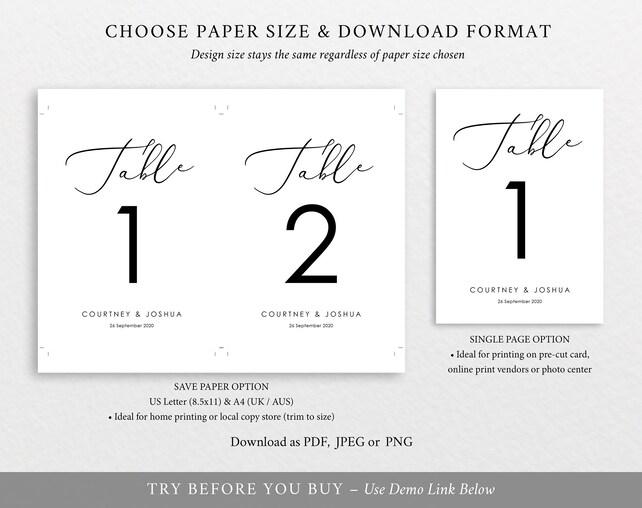 Table Numbers Template, 100 Editable Template, Elegant Wedding