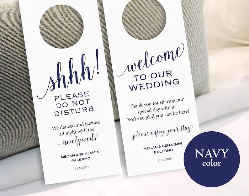Navy Wedding Door Hanger Please Do Not Disturb Door Hanger Etsy