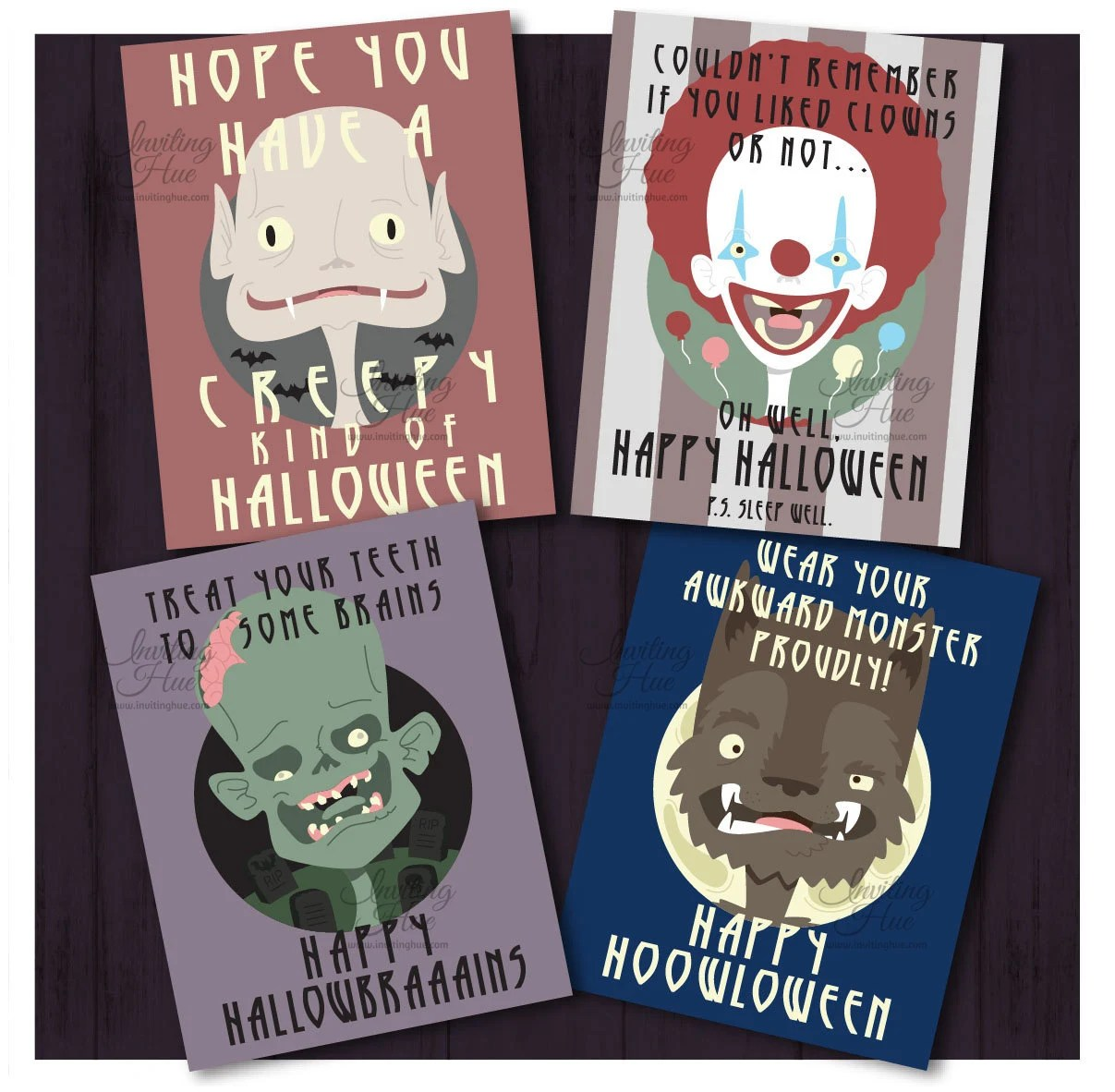 Printable Funny Halloween Cards for Adults or Kids-Creepy Etsy