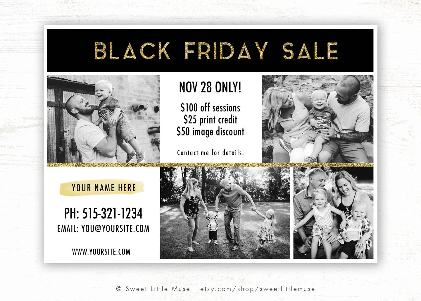 Black Friday Template for Photographers Black Friday Sale Ad Etsy