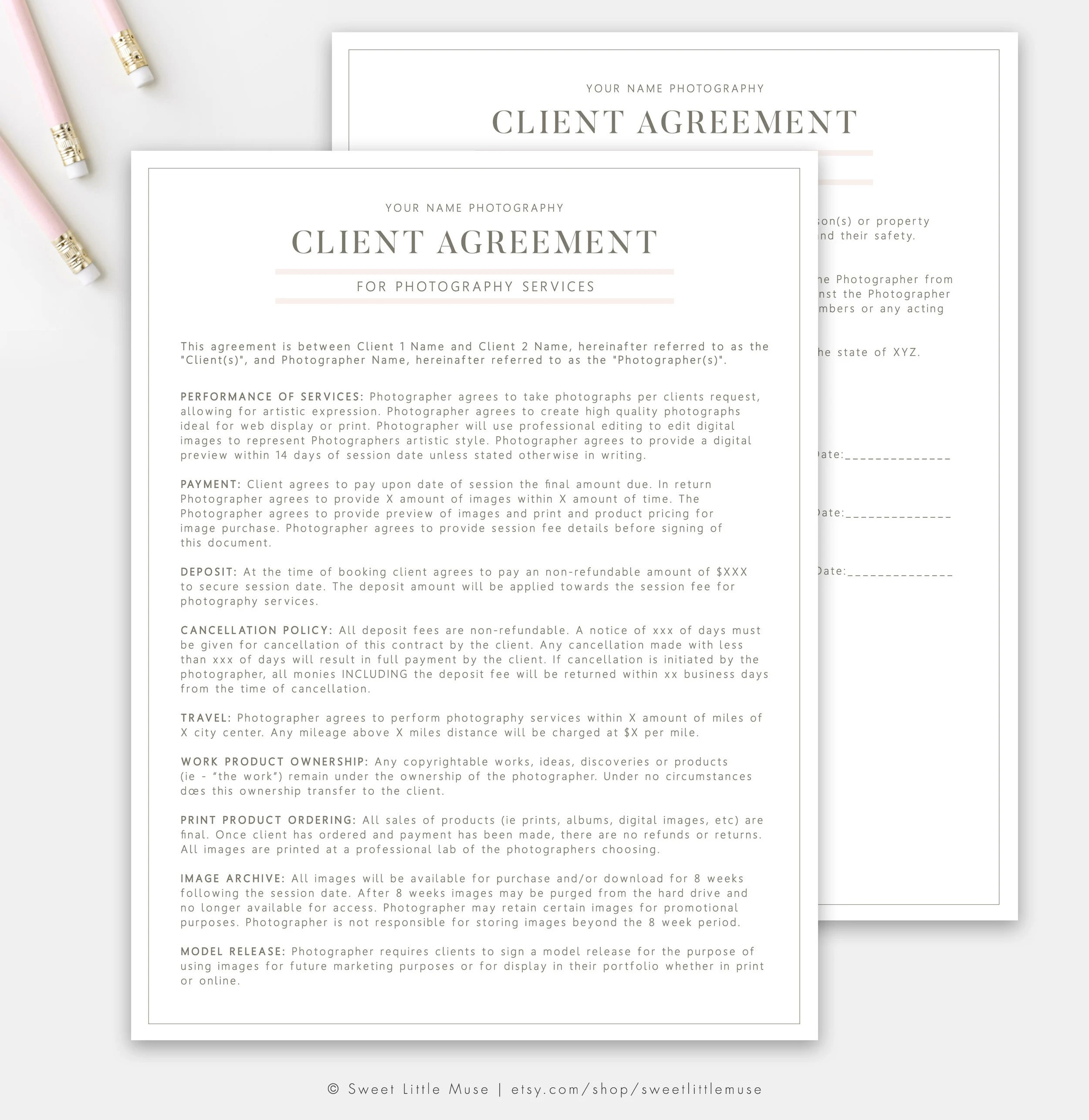 Photography Contract Template Session Contract Template Etsy - photography contract template