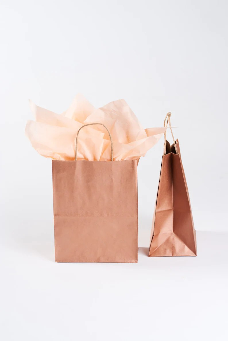 Paper Gift Bags Wholesale 50 Rose Gold Gift Bags With Handles For Wedding Guests Welcome Bag Party Favor Bulk Wholesale Kraft Paper Bag Metallic Copper Rose Gold
