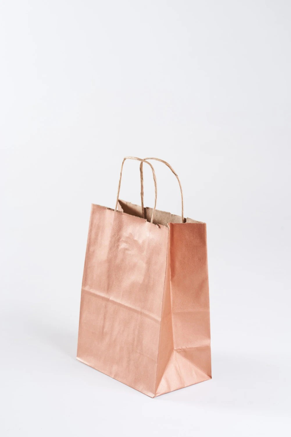 Paper Gift Bags Wholesale 75 Rose Gold Gift Bags With Handles For Wedding Guests Welcome Bag Party Favor Bulk Wholesale Kraft Paper Bag Metallic Copper Rose Gold