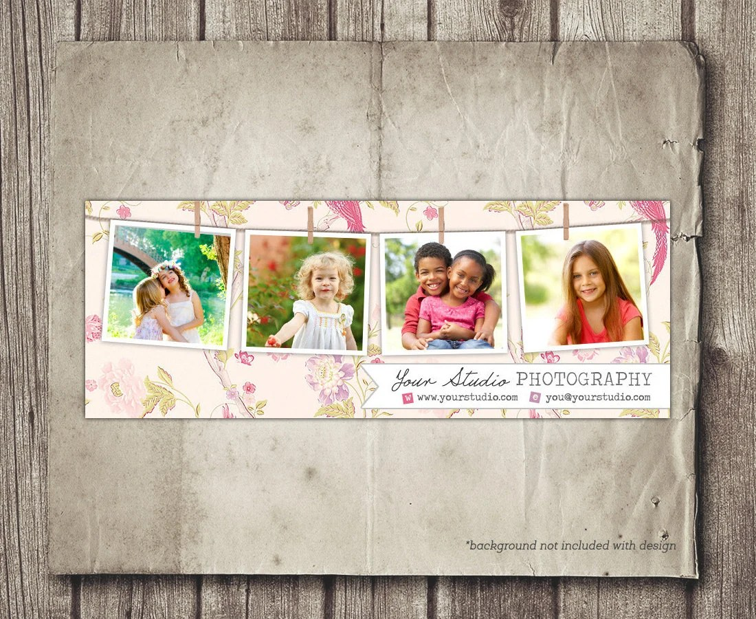 Photography Facebook Cover Photo Template - Tabs and Logo - Floral - facebook collage template