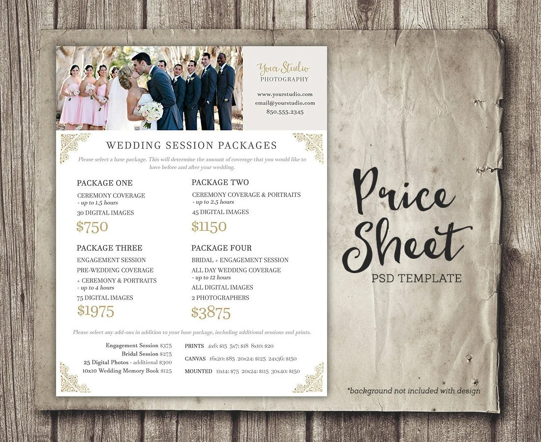 Wedding Photography Price Sheet Price List Template Etsy