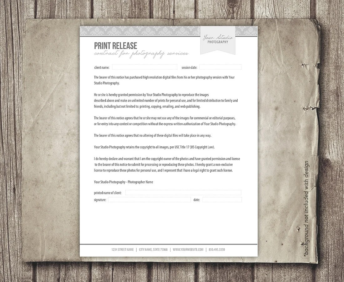 Print Release Form for Photographers - Photography Business Forms - print release forms