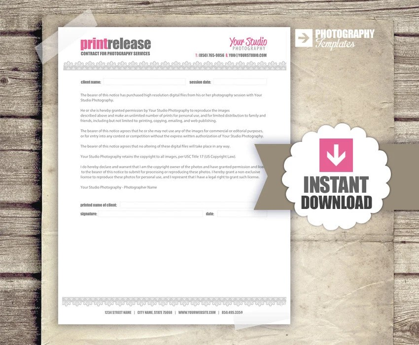 Photography Business Forms Print Release Form for Etsy